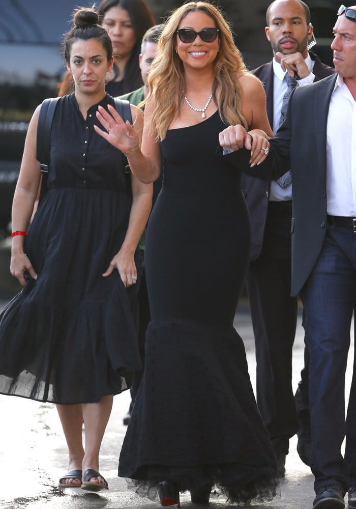 Mariah Carey leaves Jimmy Kimmel Live! after signing autographs and posing for pictures with fans