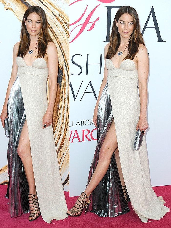 Michelle Monaghan kept her hair and makeup simple, her clutch and shoes added to her futuristic look