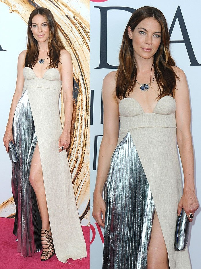 Michelle Monaghan was radiant inan off-white Virgil Abloh Fall 2016 strapless gown