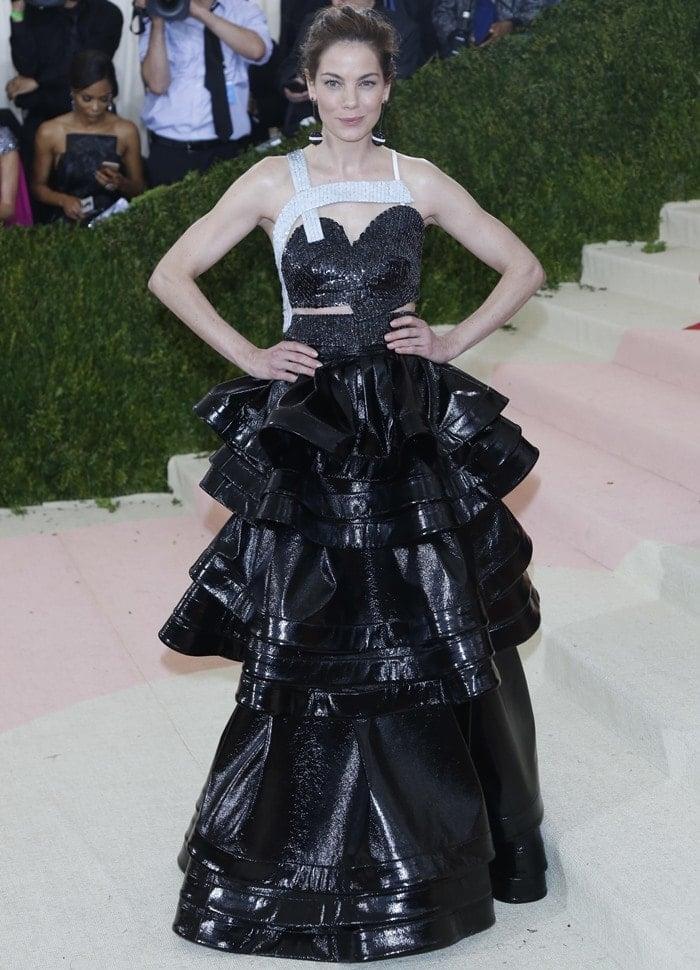 Michelle Monaghan wearing a Rosie Assoulin dress and custom Roxanne Assoulin x La Ligne earrings