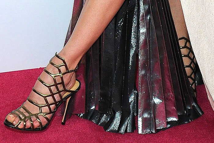 "Michelle Monaghan's feet in Schutz ""Juliana"" cage sandals"