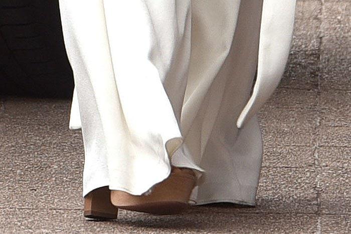 Nicole Scherzinger wearing Aquazzura nude suede platform sandals