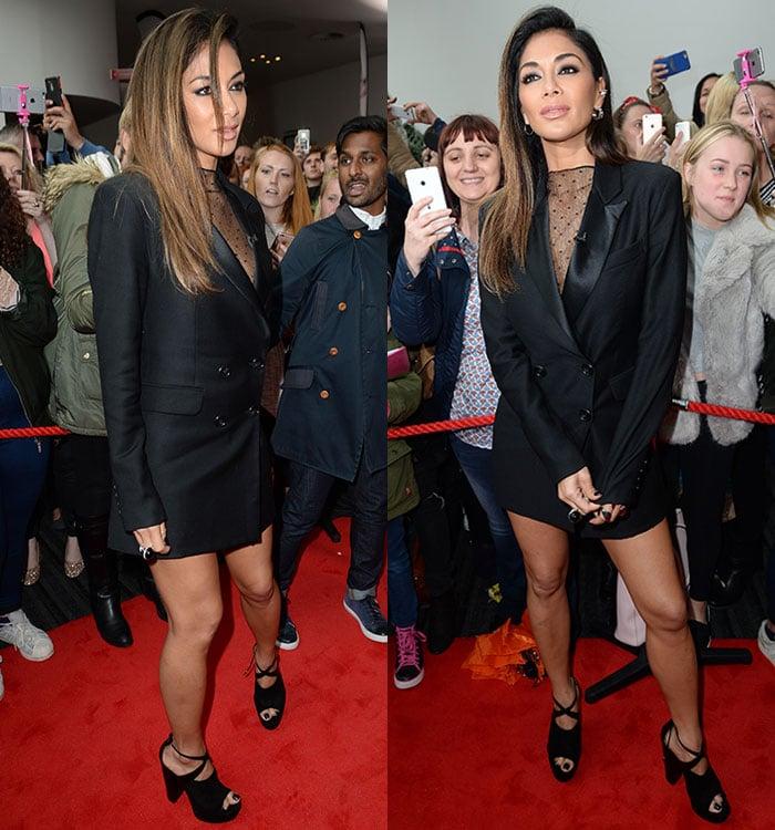 Nicole-Scherzinger-legs-decolletage-blazer-dress