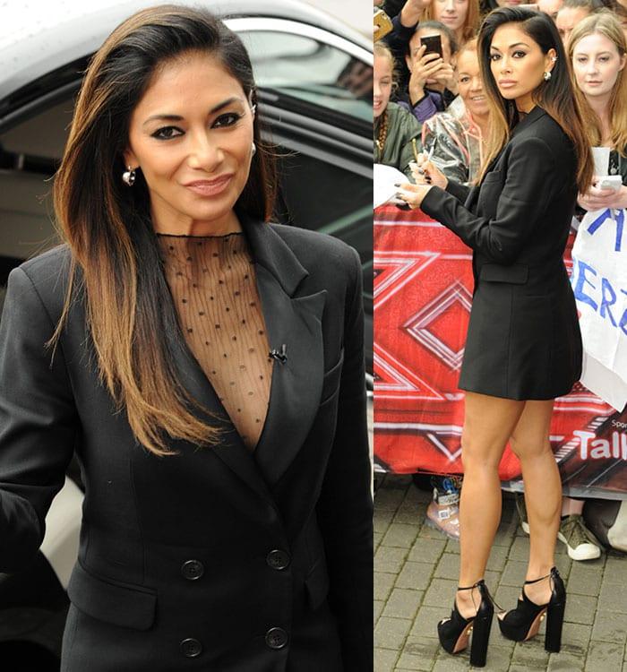 Nicole-Scherzinger-mesh-top-tuxedo-blazer-mini-dress