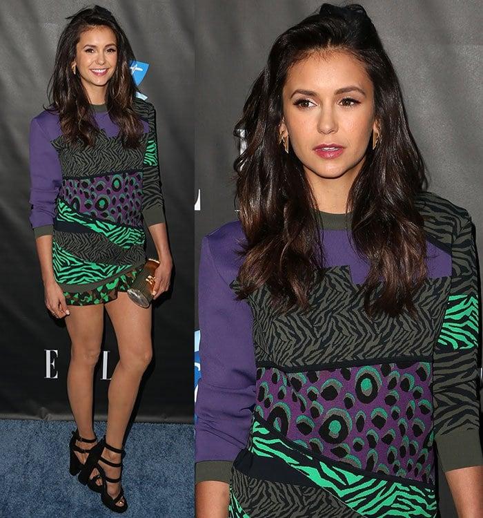 Nina-Dobrev-Versace-Animal-Printed-Colorblock-Sweater-Shorts
