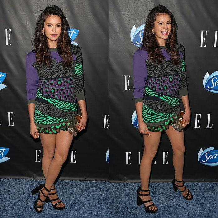 Nina Dobrev wearing chunky sandals