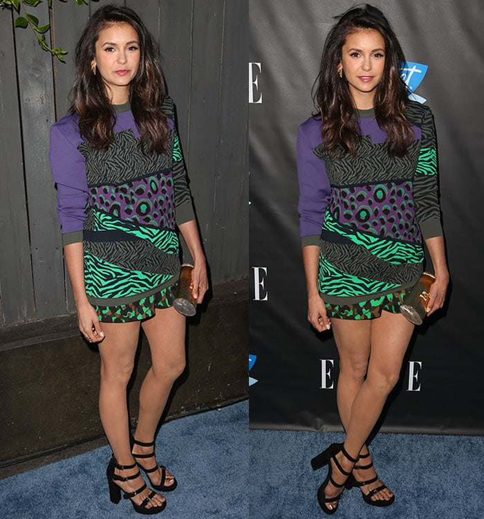 Nina-Dobrev-legs-Versace-sweater-shorts
