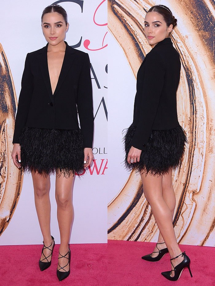 Olivia Culpo must've felt really snazzy in the Kate Spade blazer and feather skirt ensemble
