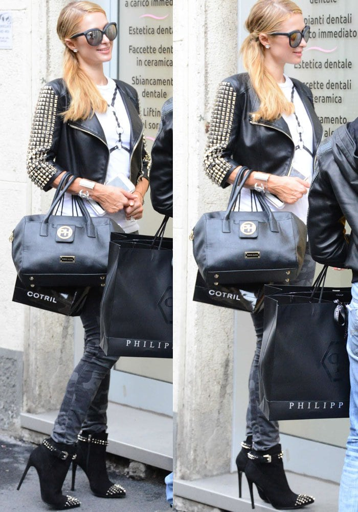 """Paris Hilton rockingcamouflage print skinny jeans and Philipp Plein's """"On My Boo"""" boots"""