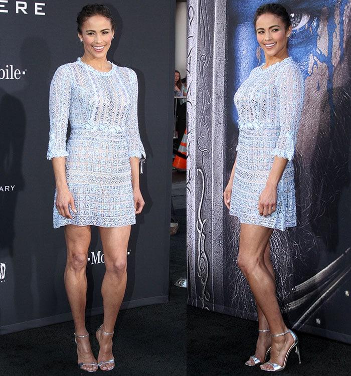 Paula-Patton-legs-blue-embellished-mini-dress