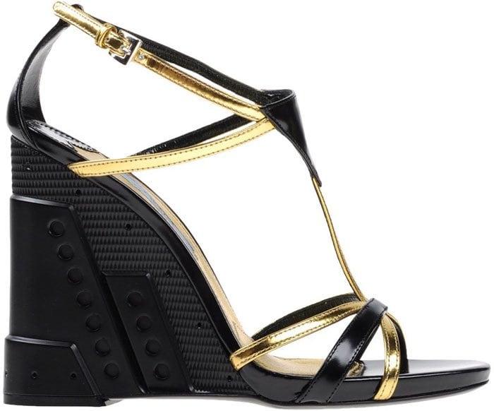 Prada Perforated Sandals Gold 1