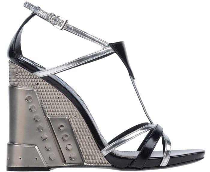 Prada Perforated Sandals Silver 1