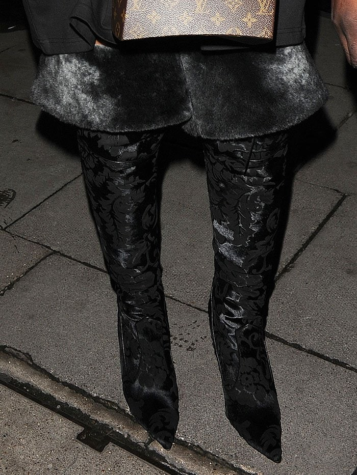 Rihanna black fur velvet boots 8