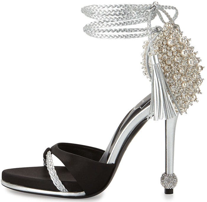 Roger Vivier Lasso Pearly Ankle-Wrap Heel