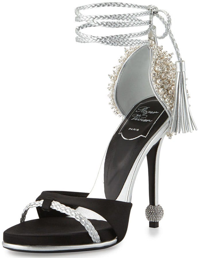 Roger Vivier Lasso Pearly Ankle-Wrap Sandals
