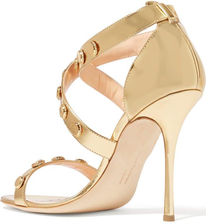 Gold Rupert Sanderson Tiffany Embellished Metallic Sandals