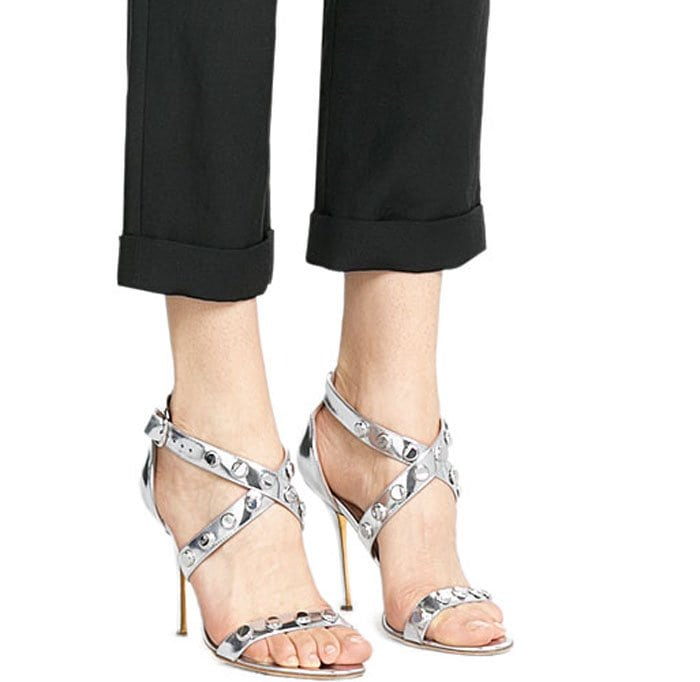 Silver Rupert Sanderson Tiffany Embellished Metallic Sandals