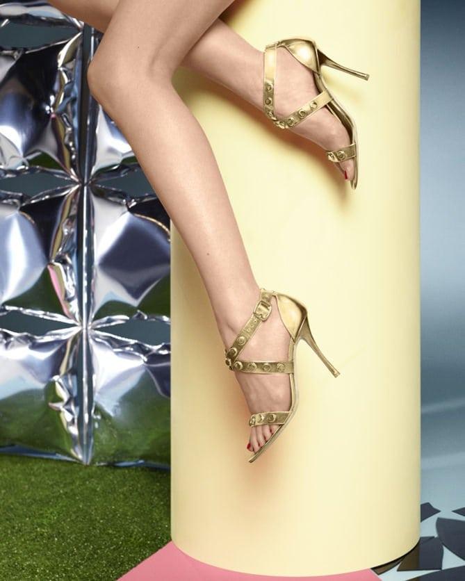 "Rupert Sanderson ""Tiffany"" Embellished Metallic Sandals"