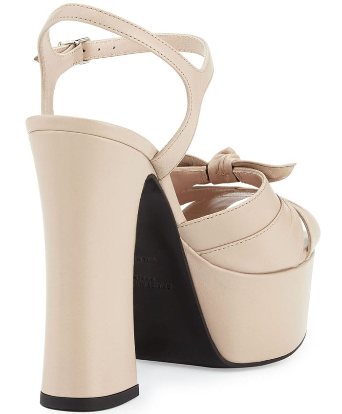 Saint Laurent Candy Leather Platform Sandal in Poudre