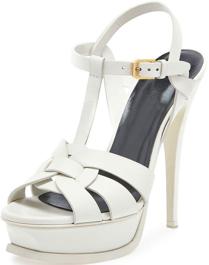 Saint Laurent Tribute Platform Sandals White