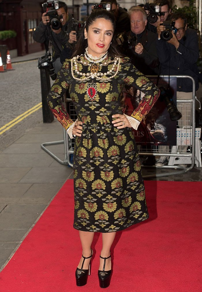 Salma Hayek's medieval-inspired dress from Gucci's Fall 2016 collection