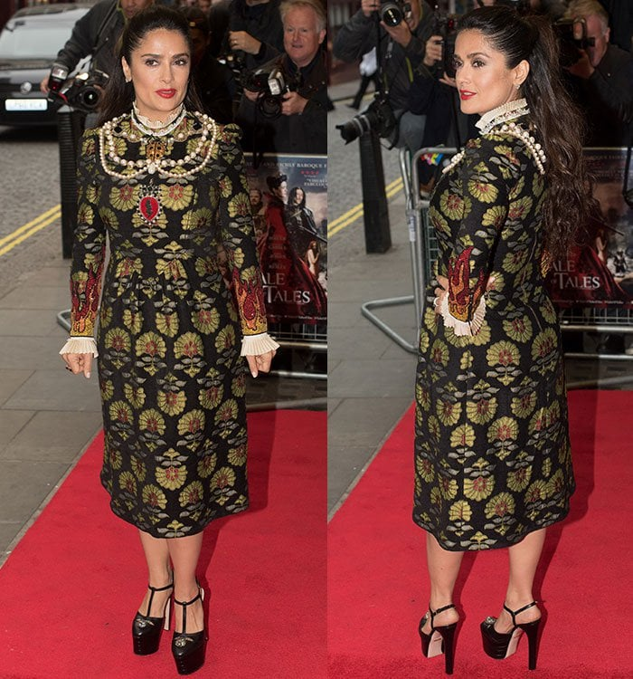 Salma Hayek keeps her jewelry to a minimum and wears her hair in a half-up, half-down style