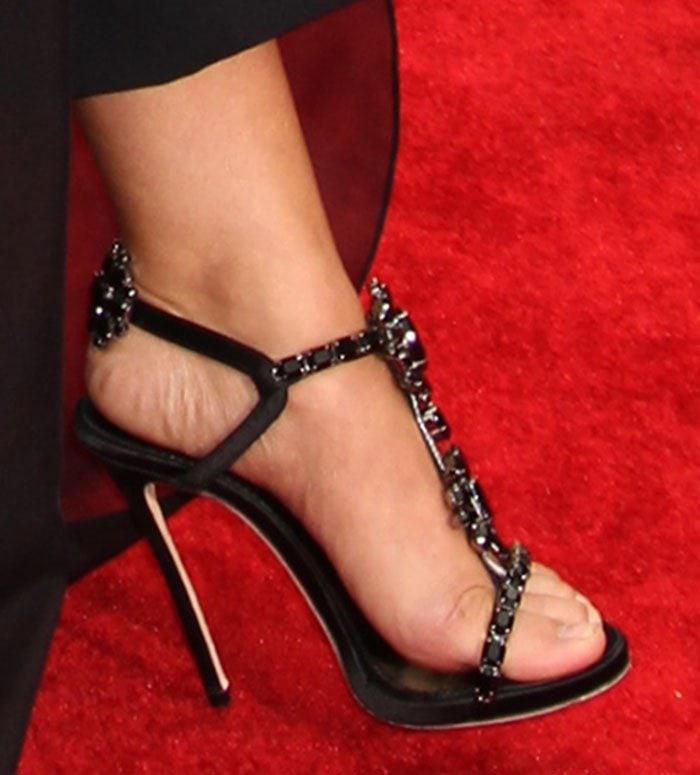 Sarah Hylands Feet in Jimmy Choo Viola Tasseled Sandals