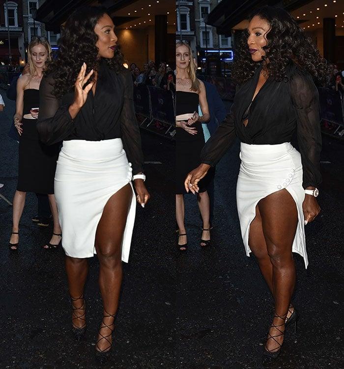 Serena-Williams-cleavage-legs-thigh-split-skirt-plunging-top
