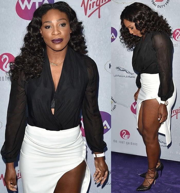 Serena-Williams-plunging-blouse-white-skirt-thigh-split