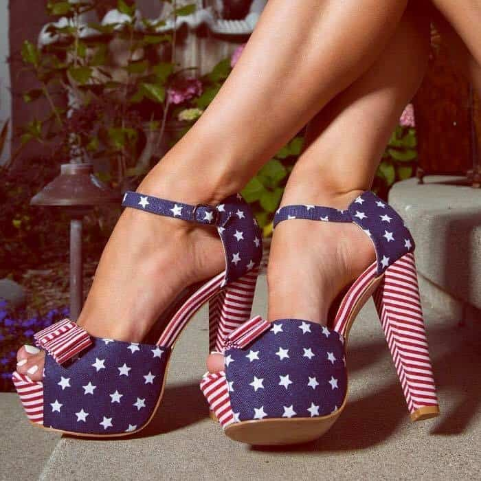 Sexy American Flag Open Toe Platform Chunky High Heels Canvas
