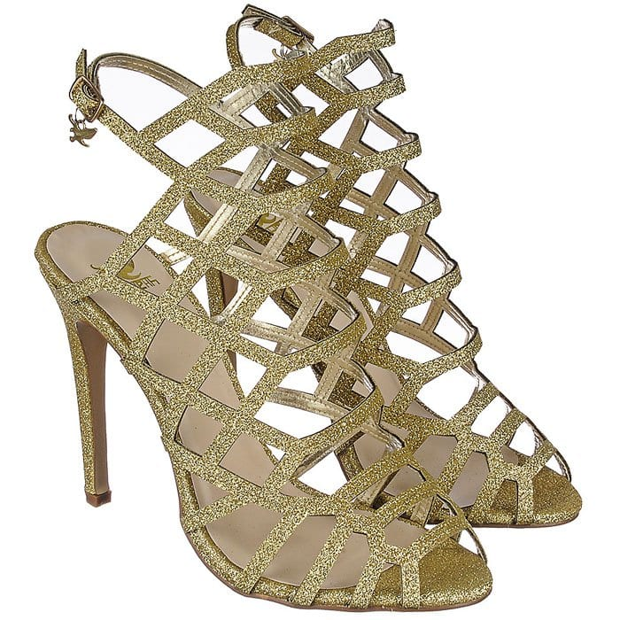 "Gold ""Wanda"" Cage Sandals"