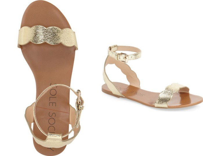 """Sole Society """"Odette"""" Scalloped Gold Ankle Strap Sandals"""