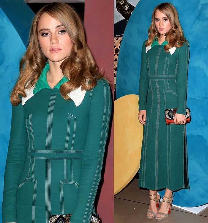 Suki-Waterhouse-green-Burberry-long-sleeve-midi-dress