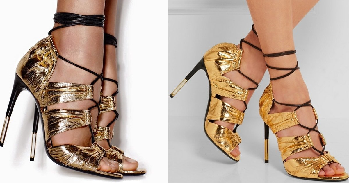 12e033657a8 Tom Ford Metallic Eel and Leather  Stardust  Cage Sandals