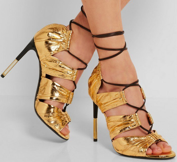 Tom Ford Metallic eel and leather sandals feet