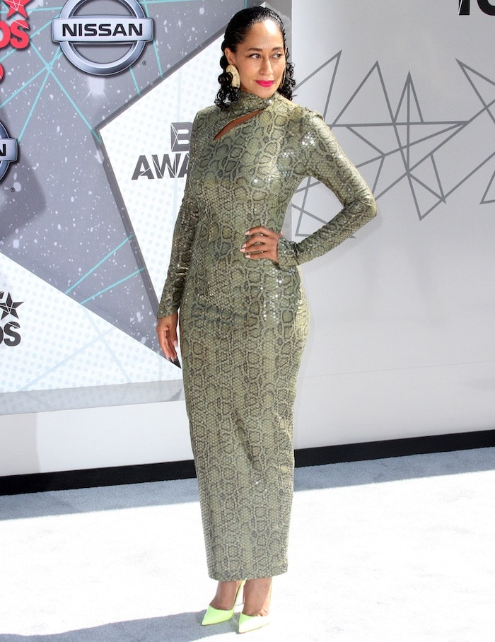 Tracee Ellis Ross walked the carpet at the 2016 BET Awards in the Microsoft Theatre on June 26, 2016 in a vintage Thierry Mugler dress