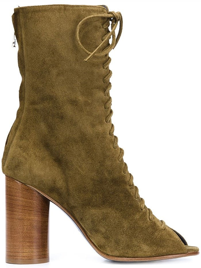 Valas Green-Suede Peep-Toe Lace-Up Booties