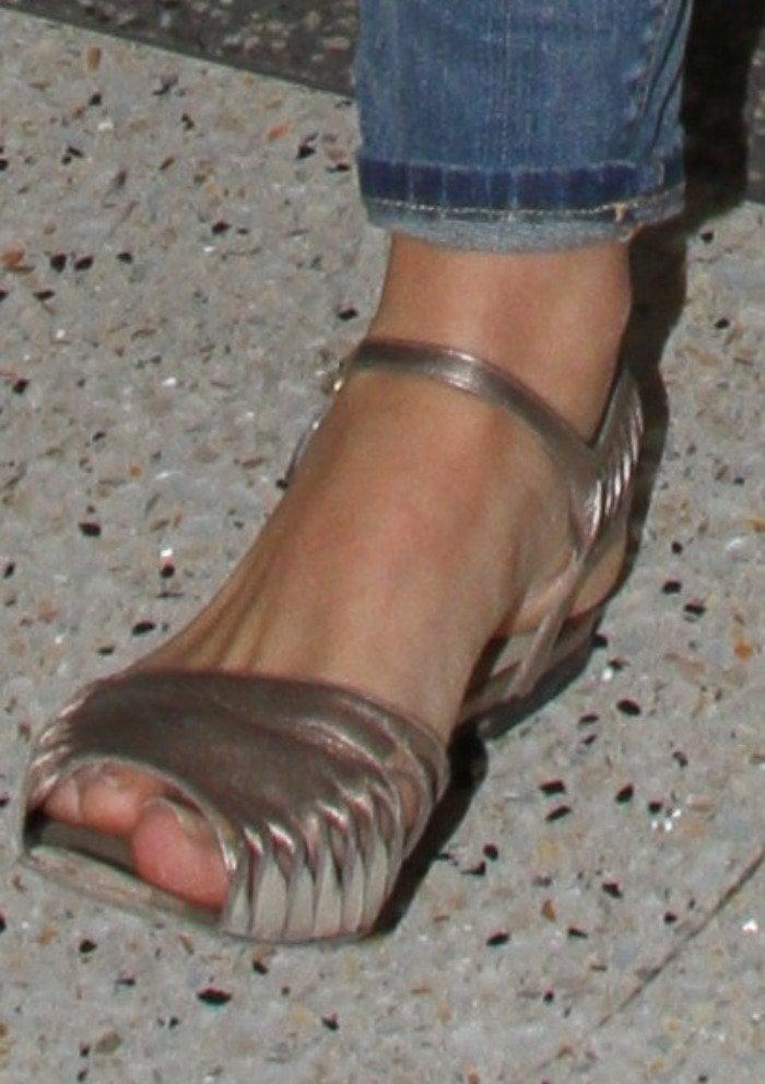 Lana Del Rey rocked rose gold metallic sandals