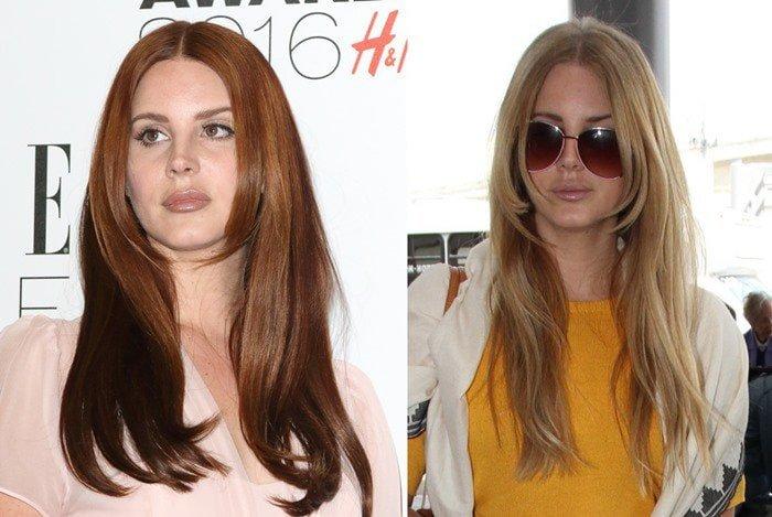 Lana Del Rey with dark auburn hair and bright honey-blonde hair