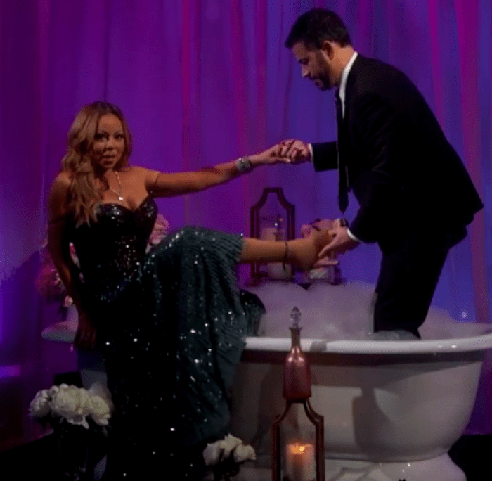 Bath time! Jimmy Kimmel helps Mariah Carey into the bubble bath for her interview on 'Jimmy Kimmel Live!'