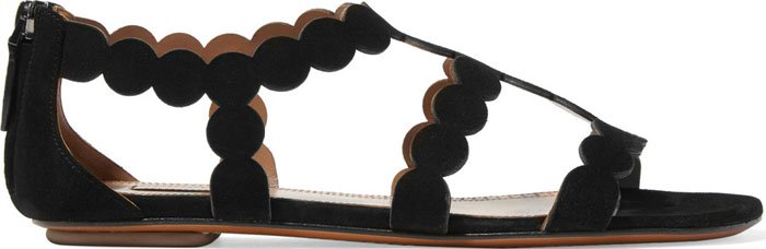 Alaia Circle Laser Cut Suede Sandals 1