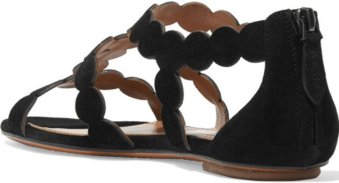 Alaia Circle Laser Cut Suede Sandals 2
