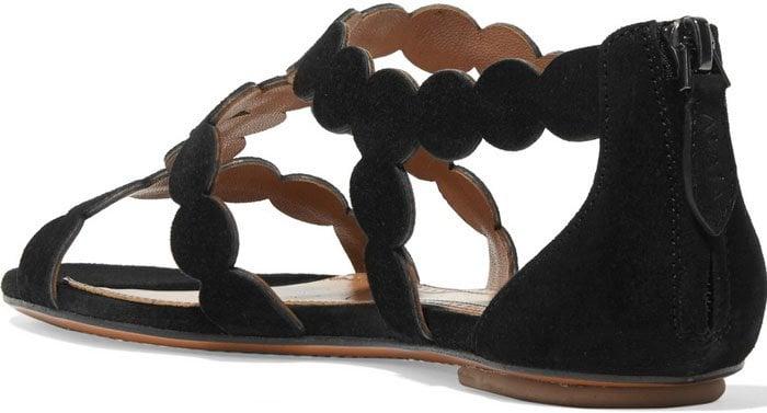 Alaia Circle Laser Cut Suede Sandals 2