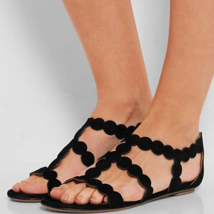Alaia Circle Laser Cut Suede Sandals 3