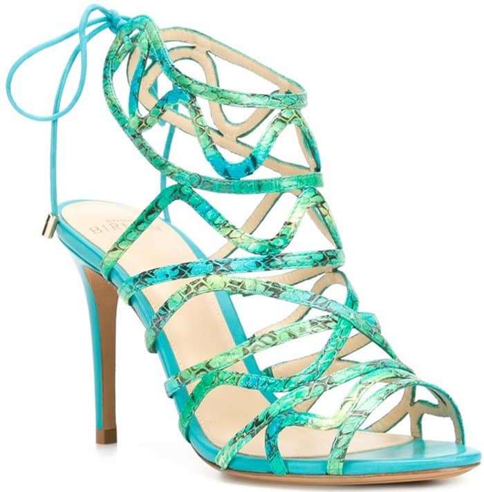 Alexandre Birman Nim Blue Leather Sandals