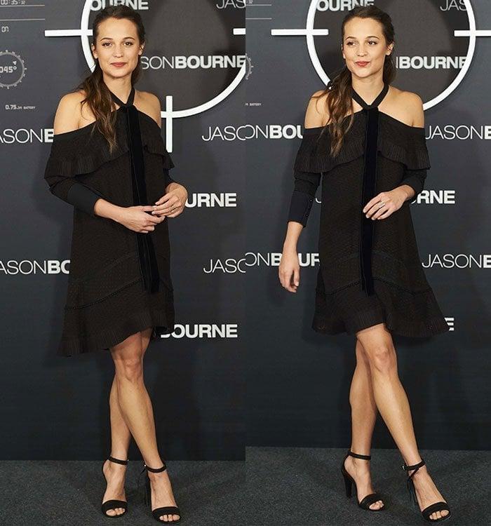 Alicia-Vikander-Proenza-Schouler-Black-Off-Shoulder-Ruffle-Dress