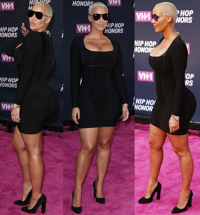 Amber-Rose-cleavage-derriere-black-bodycon-dress