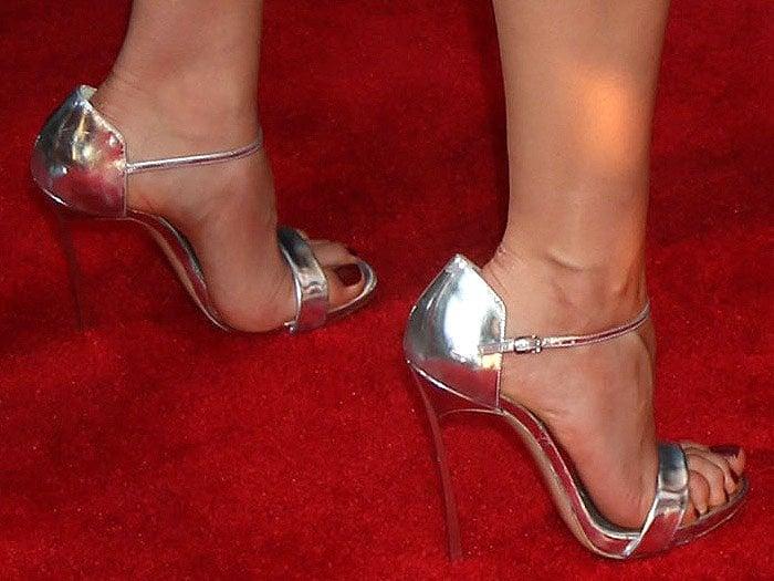 Aubrey Plaza Casadei silver sandals