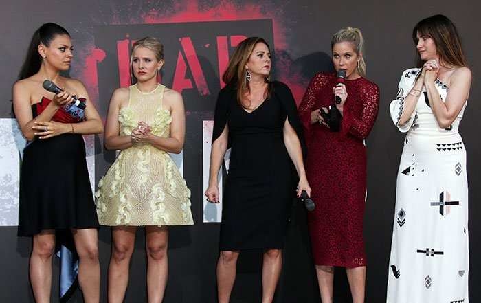 "Mila Kunis, Kristen Bell, Annie Mumolo, Christina Applegate, and Kathryn Hahn attend the premiere of STX Entertainment's ""Bad Moms"""