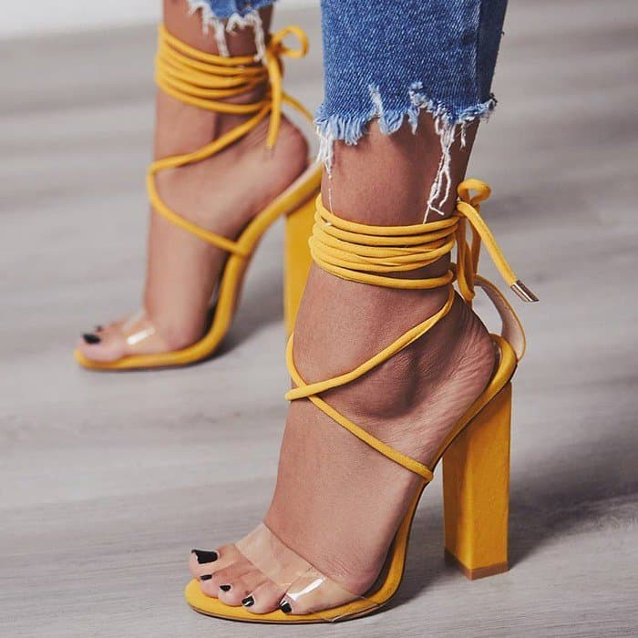 Bello Perspex Lace Up Block Heel